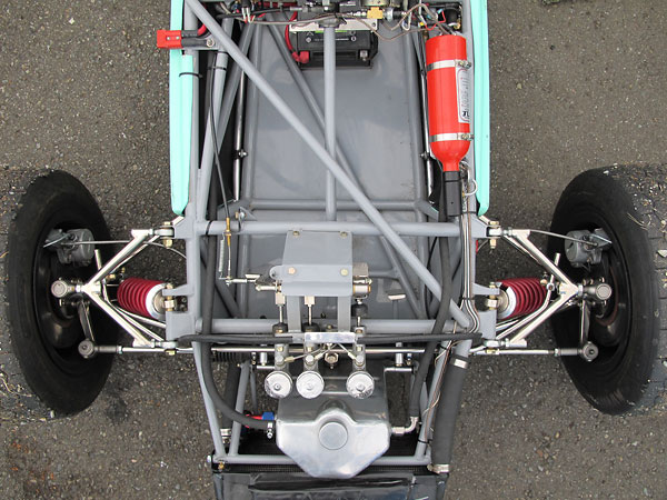 In this view the front suspension appears quite conventional.