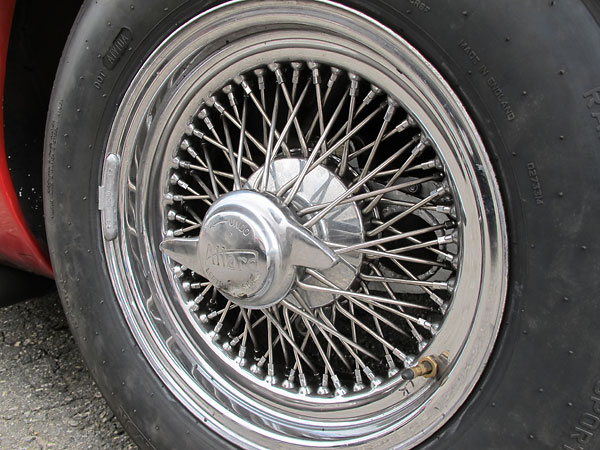 American-made Dayton wheels with extra robust (Jaguar E-type) splines, oversize spokes and nipples, and cross-laced spokes.