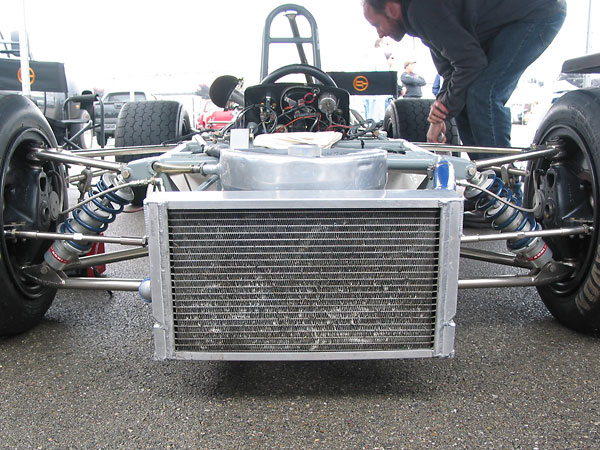 Custom aluminum crossflow radiator with integral oil cooler.