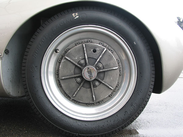 Elektron (magnesium) alloy wheels with cast-in brake drums.