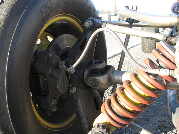 Early Lotus 51 magnesium rear uprights were handed, with a bracket for the brake caliper on the rear.
