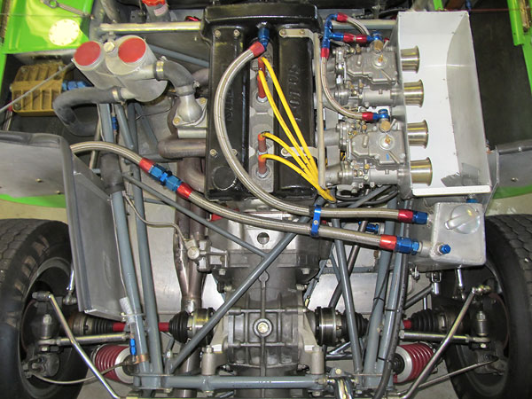 Oil line routing within the engine compartment.