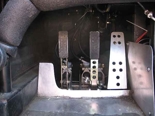 Tilton 600-series floor mounted clutch and brake pedals.
