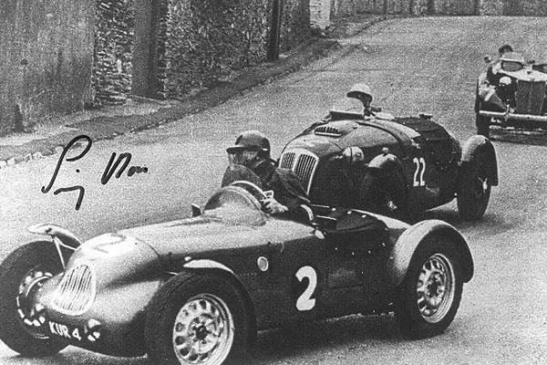 Jim Mayers (Lester MG) and Stirling Moss (Frazer-Nash LeMans Replica) in the British Empire Trophy, Isle of Man, June 1951.