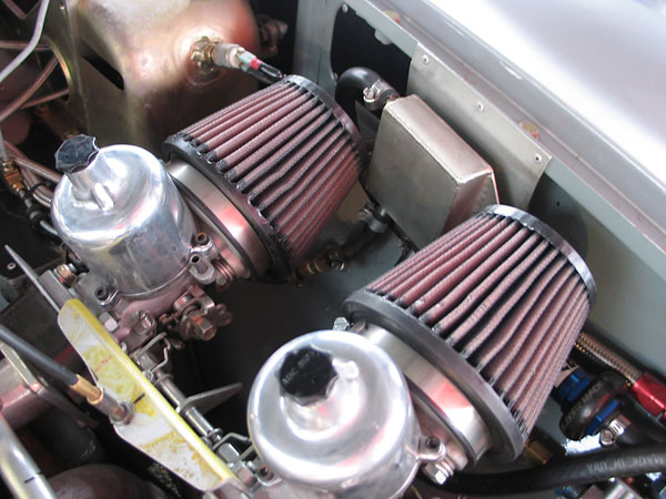 K&N gauze air filters clamp directly to shortie velocity stacks.