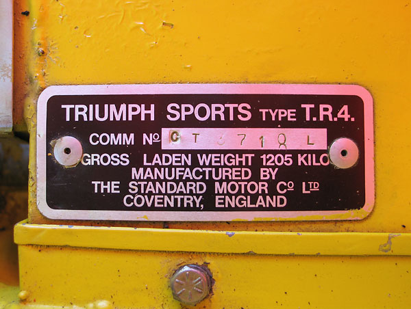 Triumph Sports Type T.R.4. / Comm No. CT3718L / Gross Laden Weight 1205 Kilo.