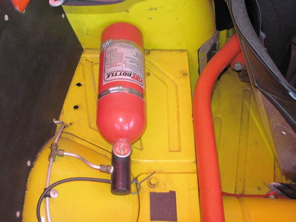 Safety Systems, Inc. FireBottle (5 pound Halon, manual pull-type) fire suppression system.