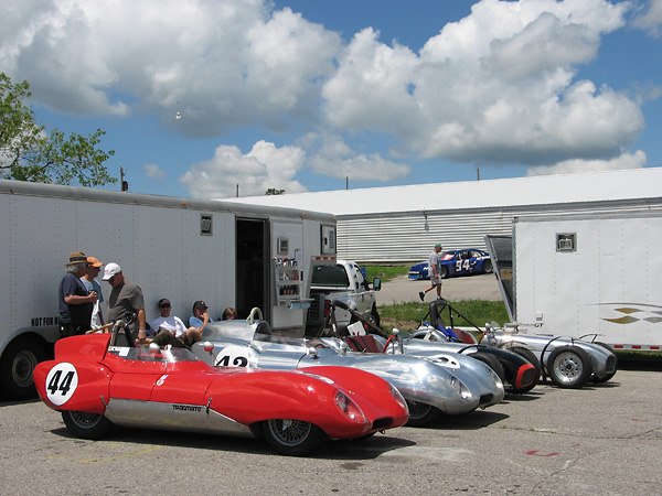 Two Lotus Eleven racecars at Mosport, near Toronto Canada.