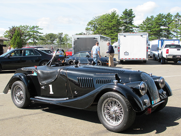 This particular Morgan came with a front bumper, but it's been removed for racing.