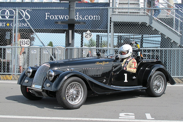 Harry Gaunt and his Morgan Plus 4 at Glenora Winery's 2010 Vintage Grand Prix of Watkins Glen.