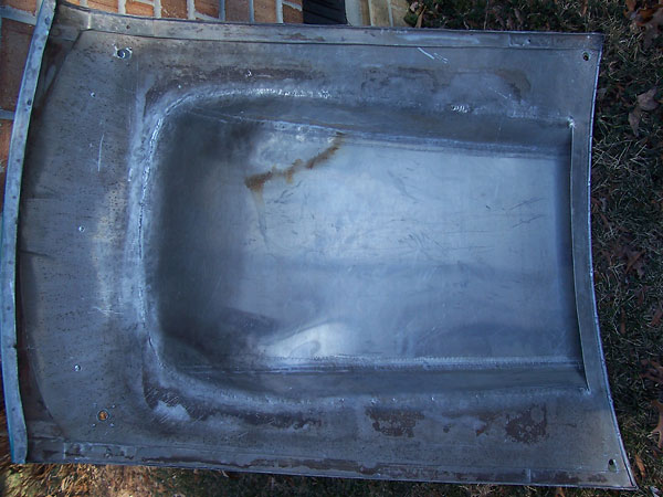 Bottom of aluminum hood, showing the cowl induction hood scoop.