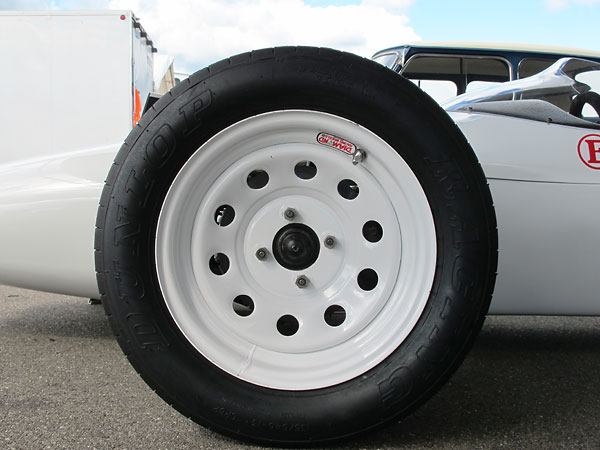 Diamond Racing Wheels Inc. 13x5.5 steel disc wheels (in white powdercoat).