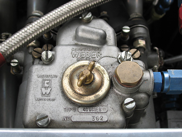 The Weber carbs are mounted on custom-fabricated steel intake manifolds.