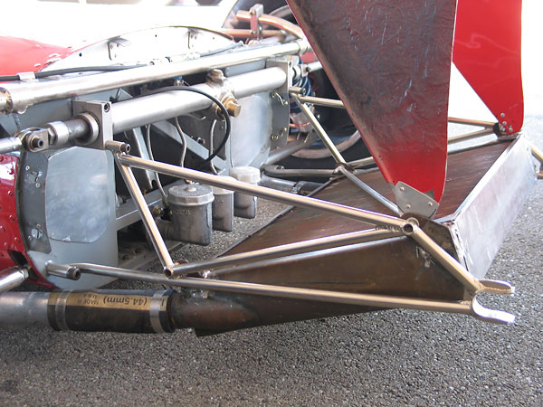 The air deflector swings up to provide easy access to the master cylinders.