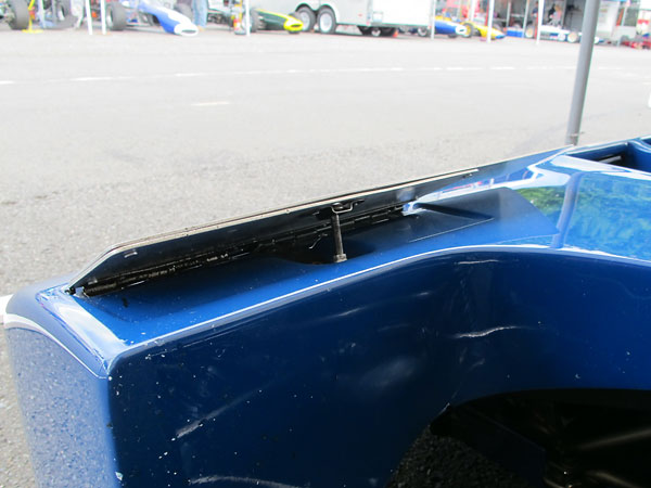 Adjustable aerodynamic flaps on the Tyrrell sports car style nose cone.