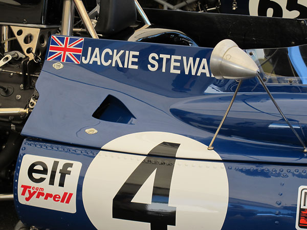 The blue-and-white Saint Andrew's cross flag of Jackie Stewart's native Scotland.