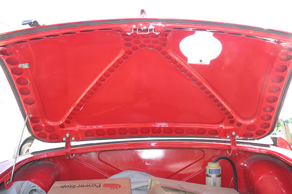 Lightened boot lid bracing. The lid has also been re-skinned in aluminum!