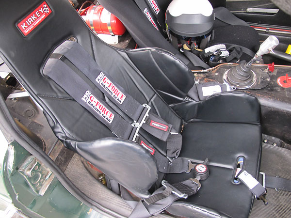 Kirkey aluminum drivers seat with G-Force Pro Series five point cam-lock safety harness.