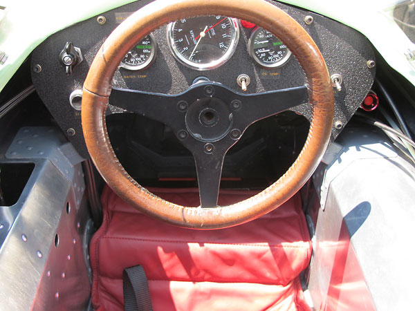 Leather covered steering wheel.
