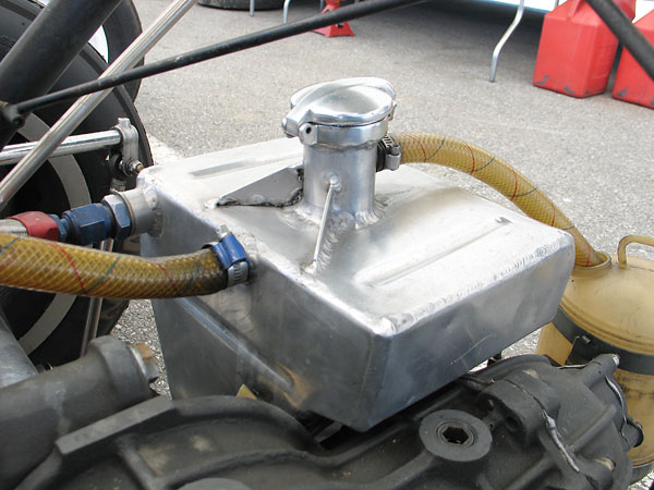 This elaborate fabricated aluminum engine oil reservoir is a distinctive Type 69 feature.