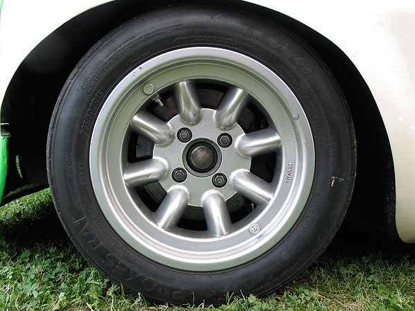 front: Toyo Proxes RA1 225/50/15 tires on genuine Minilite wheels