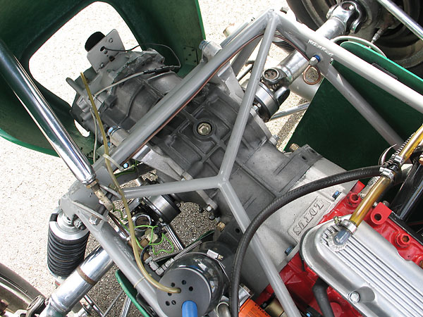 The Lotus 18 Junior originally came with a Renault transaxle. This Hewland transaxle is an upgrade.