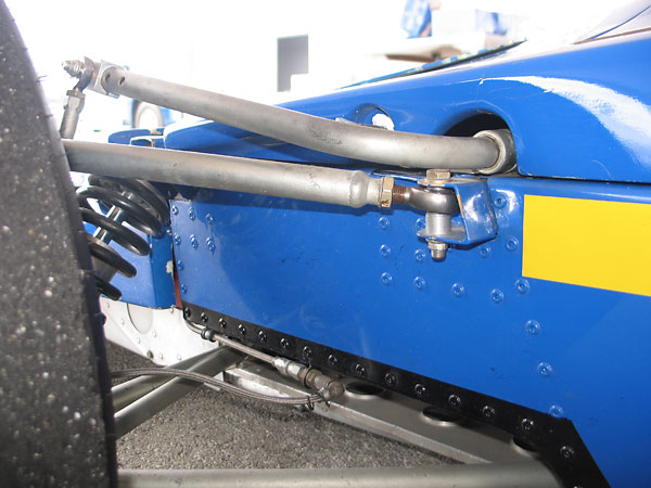 Lola also changed the upper control arm rearward fixings from horizontal to vertical bolts.