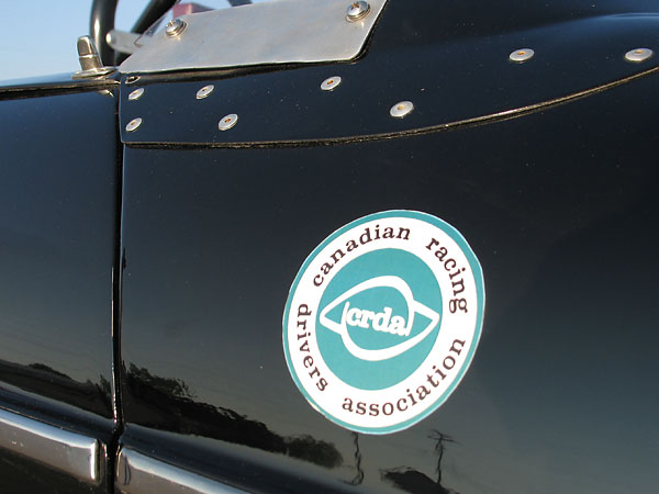 CRDA: Canadian Racing Drivers Association sticker.