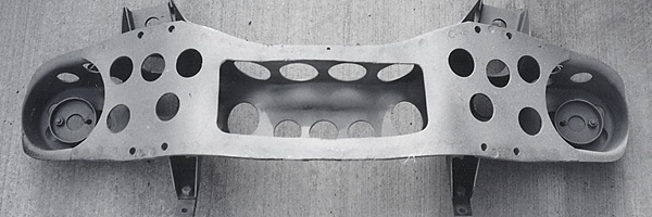 Al Pease's lightened front crossmember, as viewed from below during restoration.