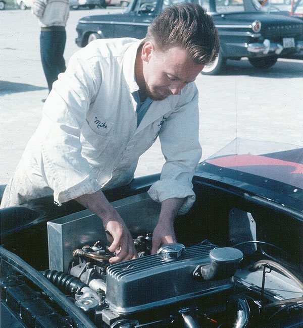 Mike Holden sets up dual Webers DCOE carburetors on the crossflow head (Mosport, 1963)
