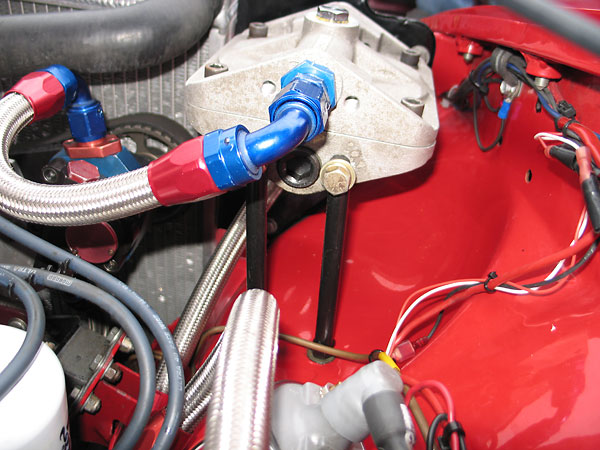 Moroso Omni oil filter plumbing and mounting features.
