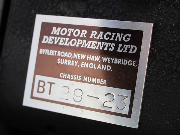 MOTOR RACING DEVELOPMENTS LTD, Chassis Number BT 29-23