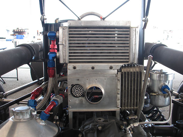 Fluidyne dual pass engine oil cooler, and vintage Stewart Warner transaxle oil cooler.