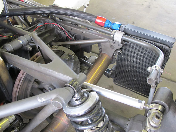 Oil coolers at the rear of a car are vulnerable.