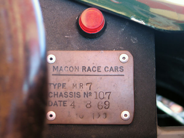 MACON RACE CARS TYPE MR7, CHASSIS NO. 107, DATE 4 8 69, (10 138).