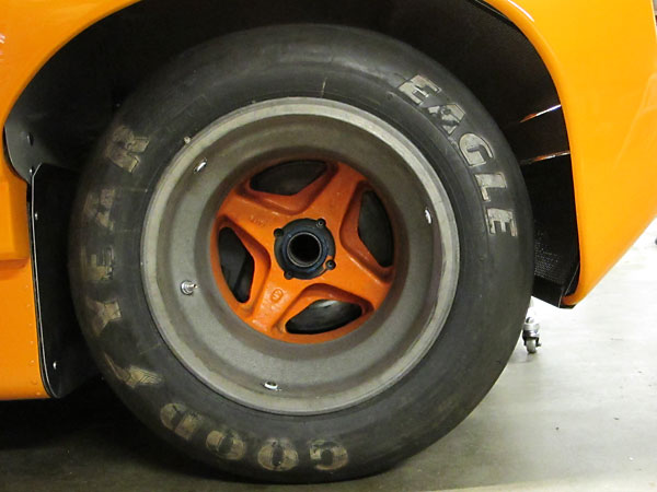 McLaren magnesium 15x17 rear wheels, fitted with Goodyear tires.