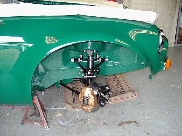 MGC torsion bar front suspension. Uprated brakes with Wilwood calipers.