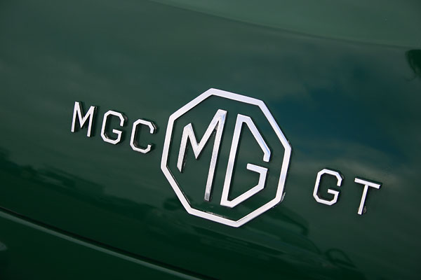 MGC GT tail hatch badges.