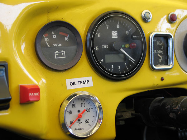 Voltmeter, Sunpro oil temp gauge, and SPA Design tach with programmable shift light and telltale.