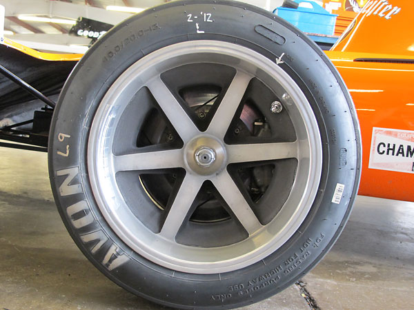 Steve Cook had reproduction magnesium racing wheels made to match March's original drawings.