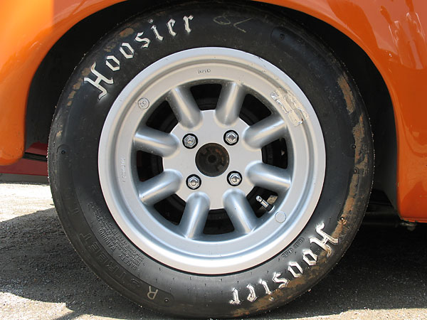 Minilite MagStyle aluminum 8J15 wheels with Hoosier Street T.D. P245/45D15 bias-ply racing tires.
