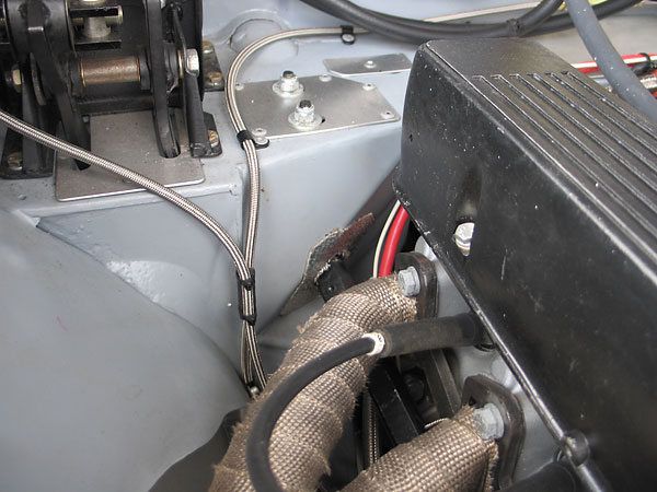 The car has been converted to right hand steering. The steering shaft can be seen here.