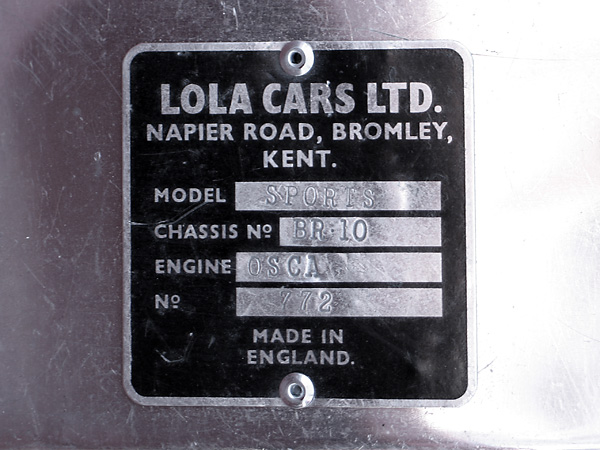 LOLA CARS LTD., Napier Road, Bromley, Kent. Model Sports, Chassis BR10, Engine OSCA, Number 772.
